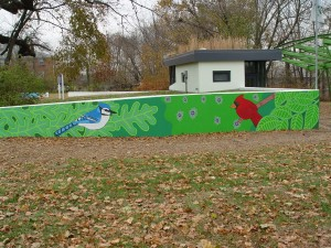 Environmental Education Center Mural with Blue Jay and Cardinal